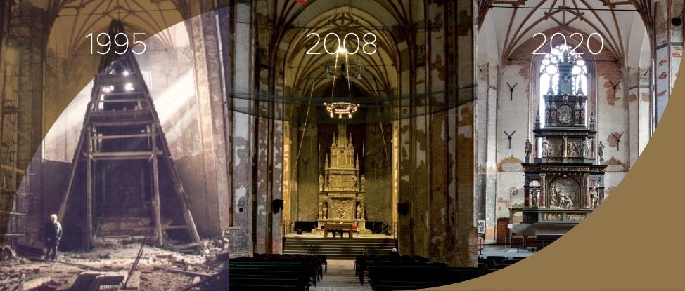 Zestawienie trzech archiwalnych zdjeć kamiennego ołtarza głównego  - z 1995, 2008 i 2020 roku. Zdjęcia prezentują różne etapy konserwacji zabytku, od znacznie zniszczonego z drewnianym rusztowaniem, przez stan konserwacji częsciowej aż po odnowienie.